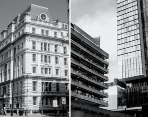 None of these three London buildings has load-bearing walls, but only those on the right express this outwardly. Author's collection.