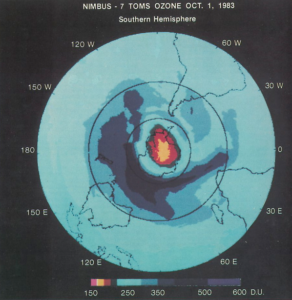 The size and magnitude of the ozone hole captured by NASA satellites in 1983